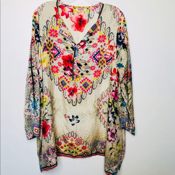 bcfea7dec74 Johnny Was Tops | 100 Silk Floral Tunic | Poshmark